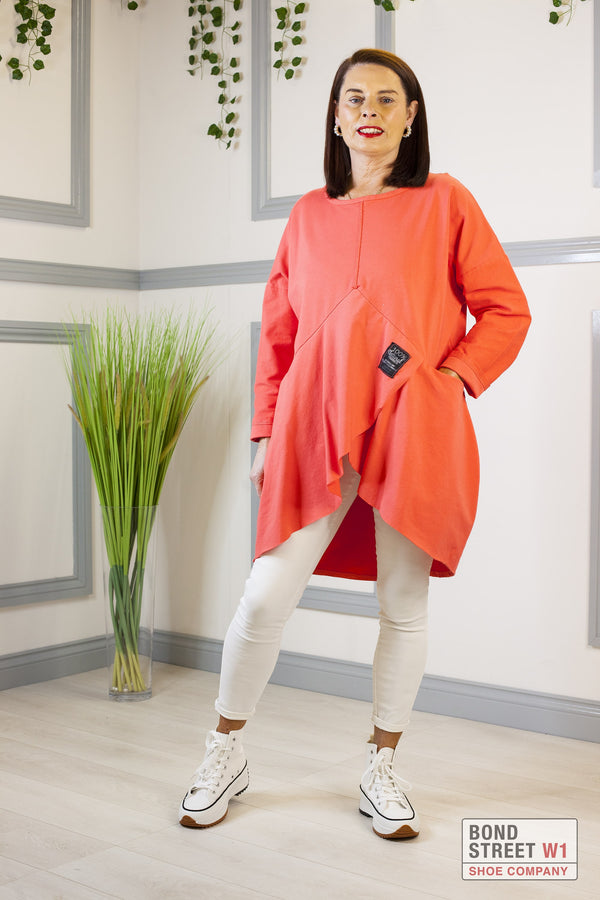 Red Label Tiered Sweat Top Orange
