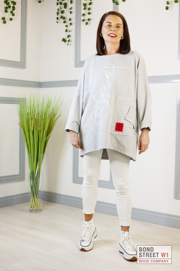 Maria Red Label Grey Face Jersey Top