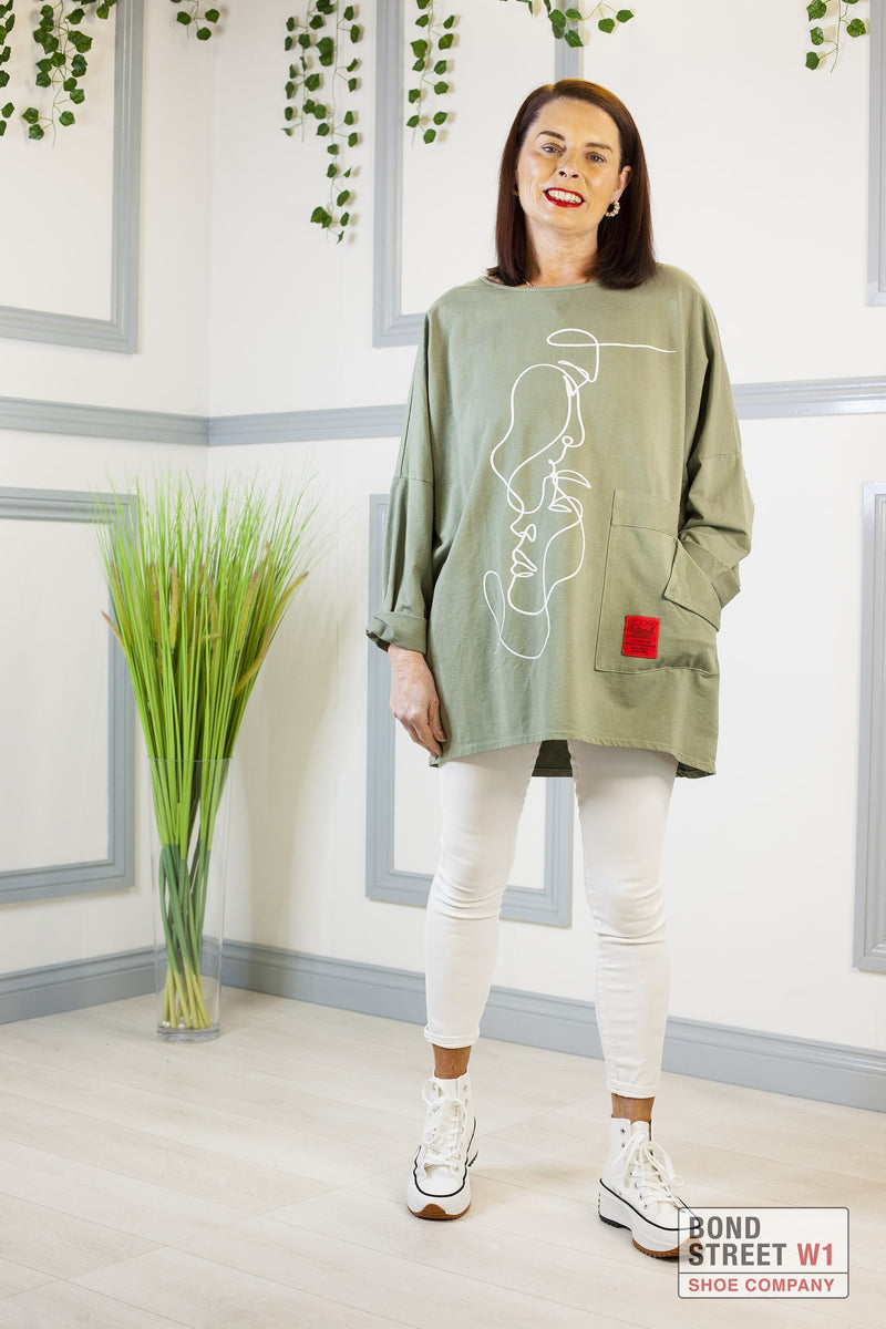 Maria Red Label Dark Khaki Face Jersey Top