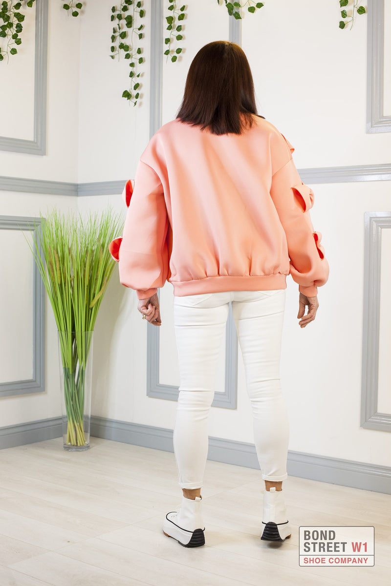 Luxury Coral Bow Jumper