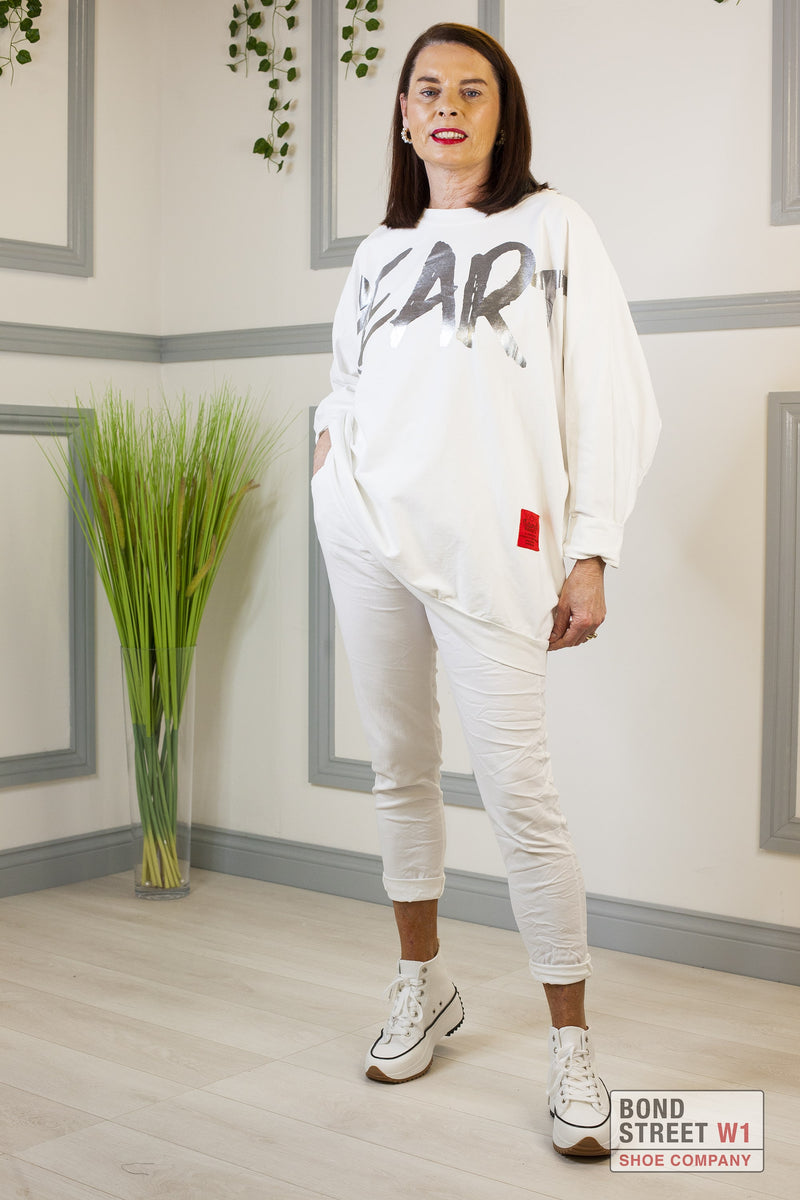 Rita Red Label White Heart Sweatshirt