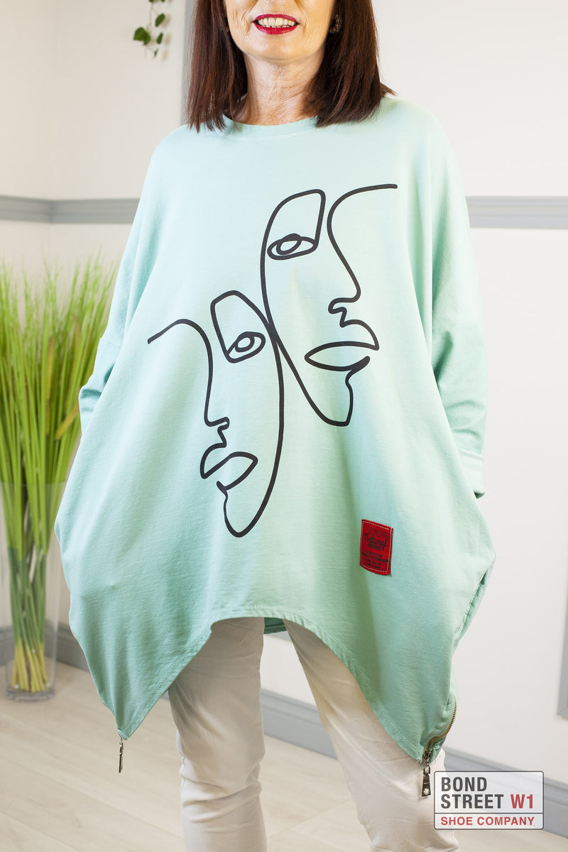 Rosa Red Label Mint Two Faced Zip Sweatshirt
