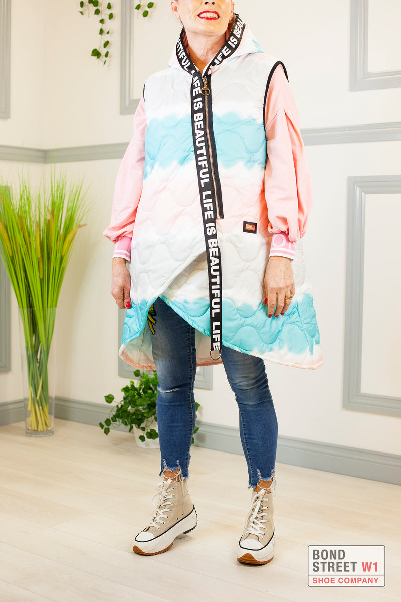 'Life Is Beautiful' Pink/ Turquoise Gilet Puffer Limited Edition