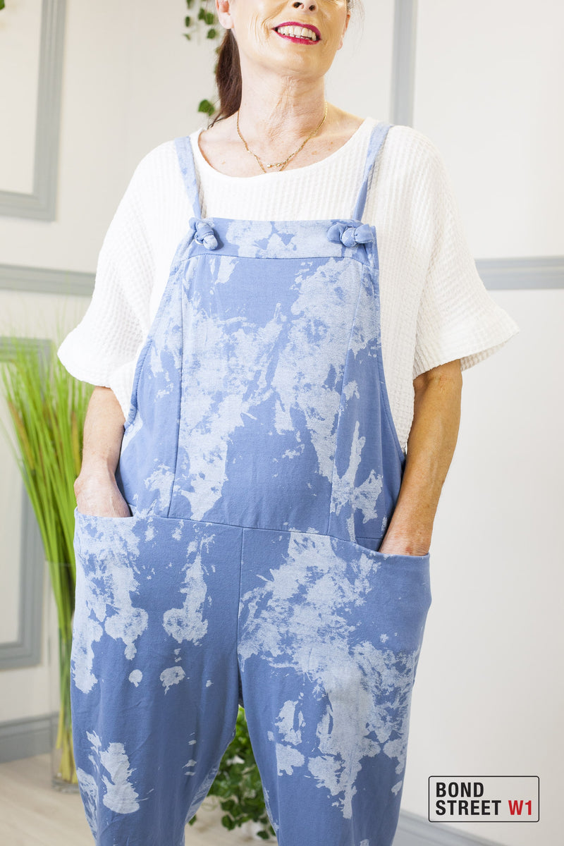 Blue Tie Dye Cotton Dungaree