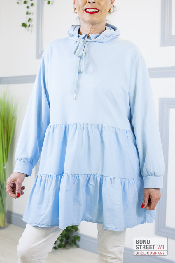 Gianna Sky Blue Smock Sweat Dress