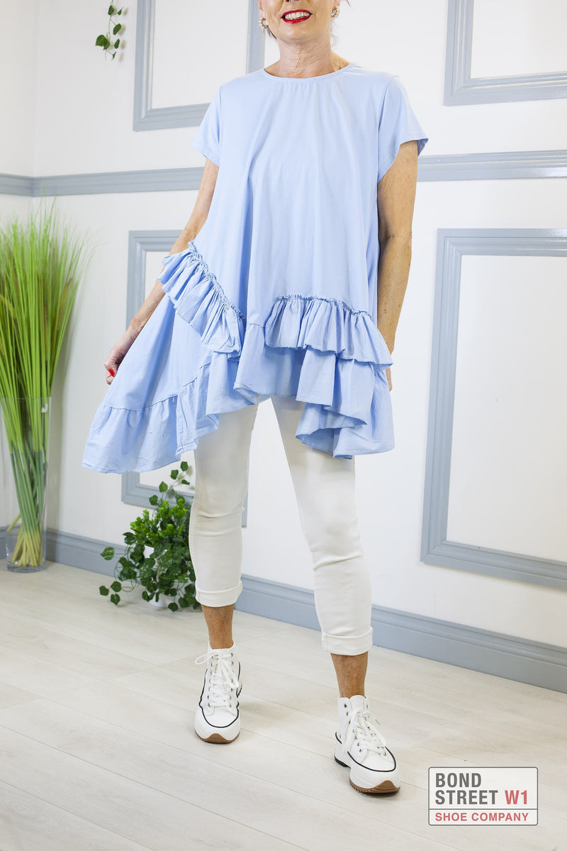Louisa Blue Tiered Frill Dress