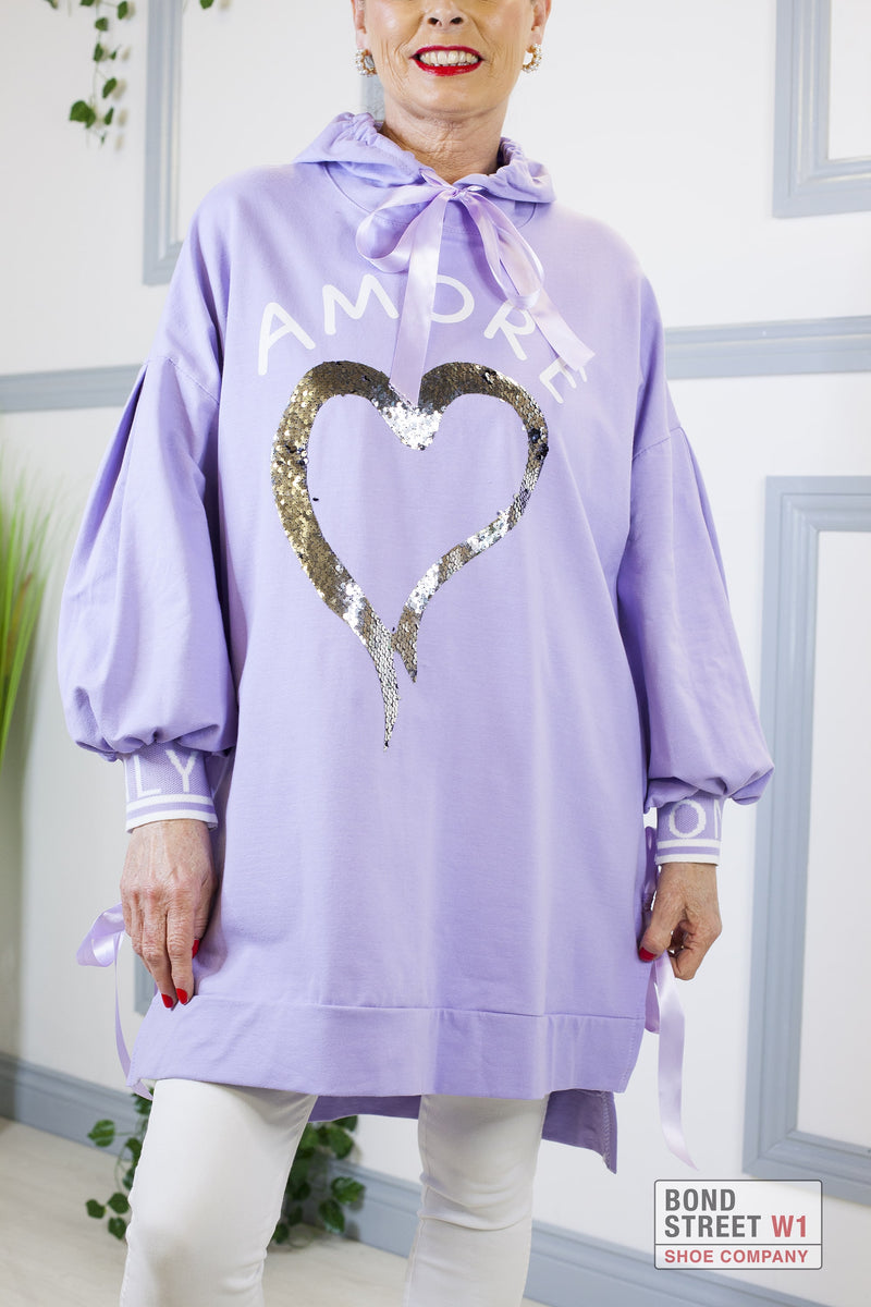Leanna Lilac Ribbon Amore Longer Hoody