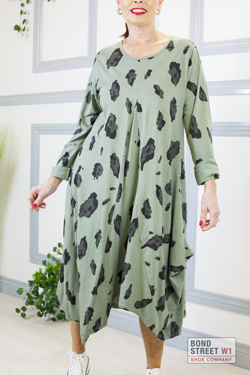 Ella Dark Green Leopard Dress