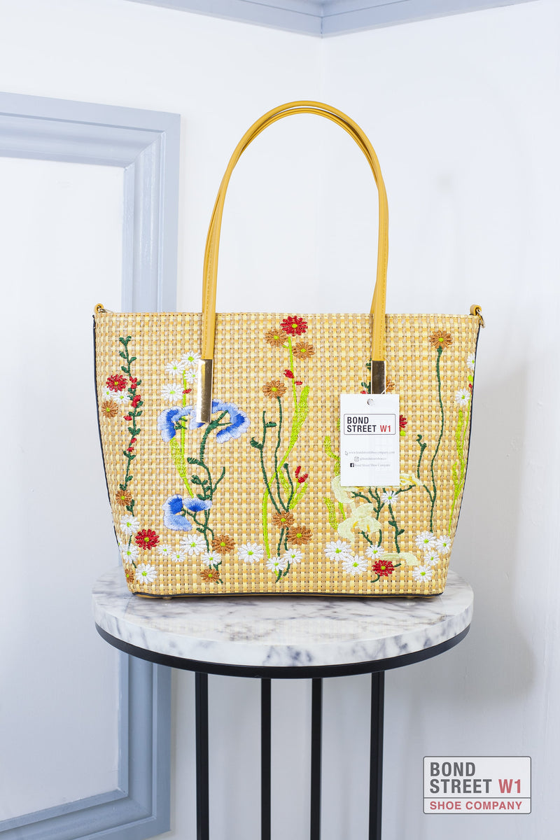 Mustard Woven Large Shopper Bag