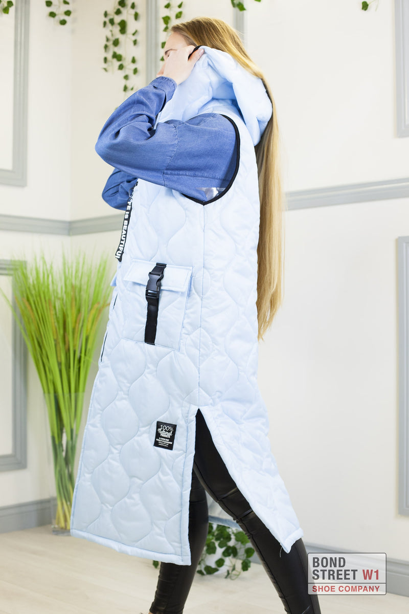 'Life Is Beautiful' Extra Long Blue Gilet Puffer