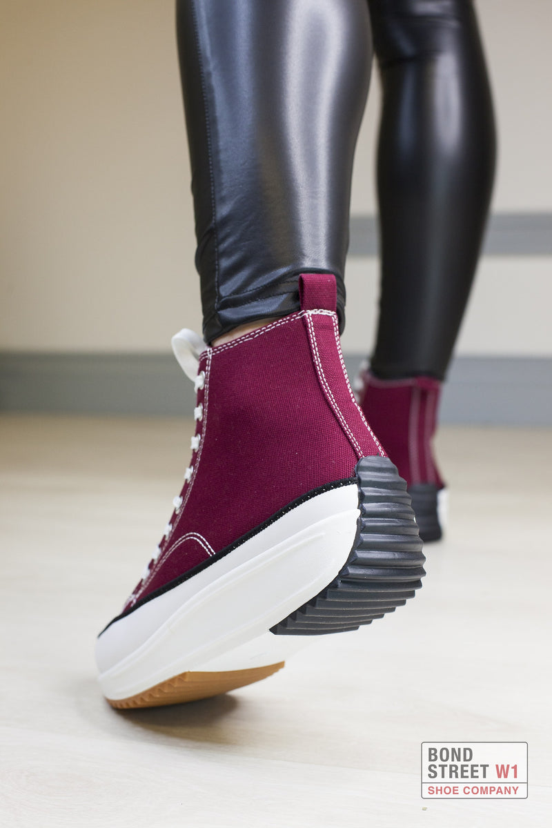 Burgundy Cleated Platform Trainer