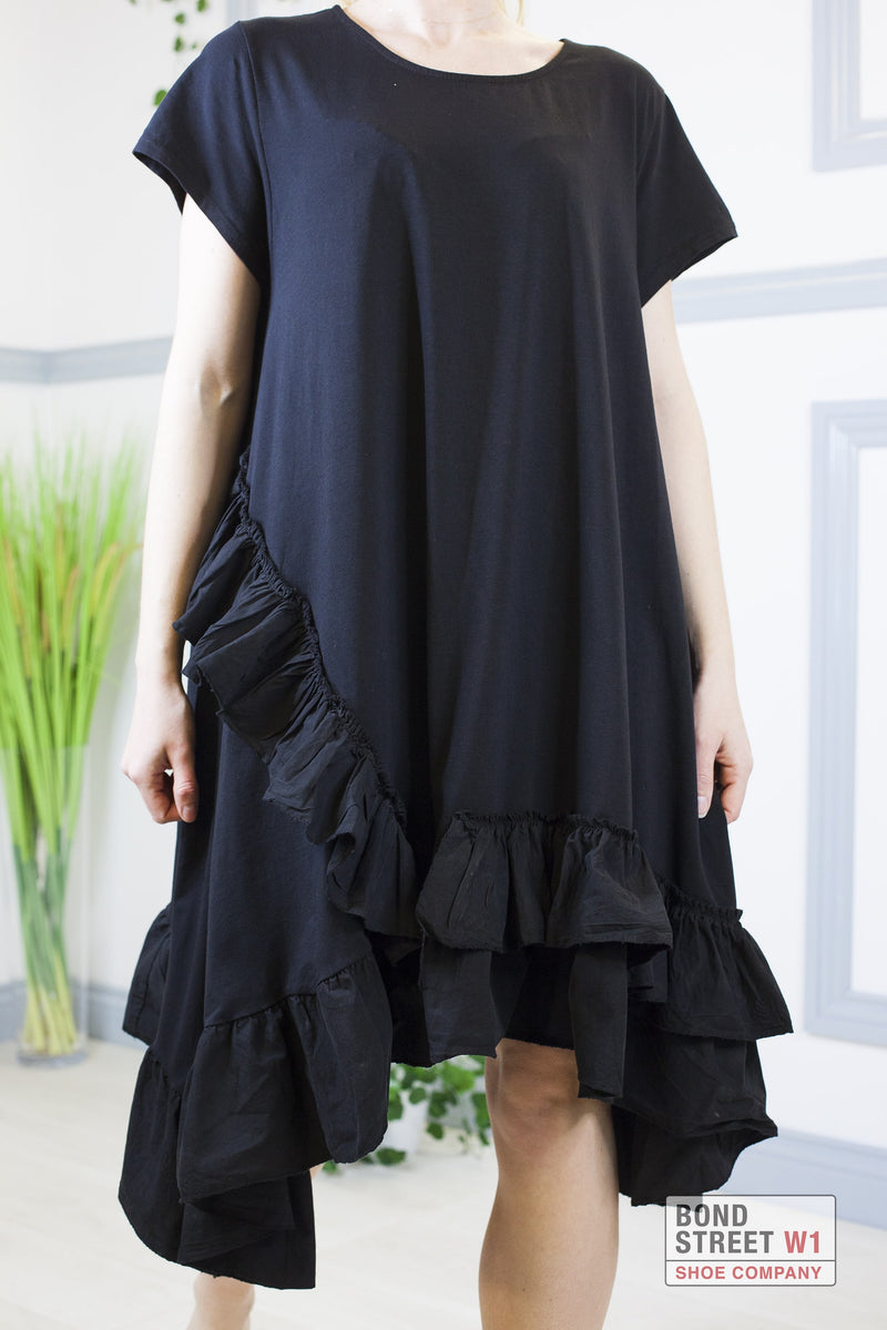 Lily Black Long Tiered Frill Dress