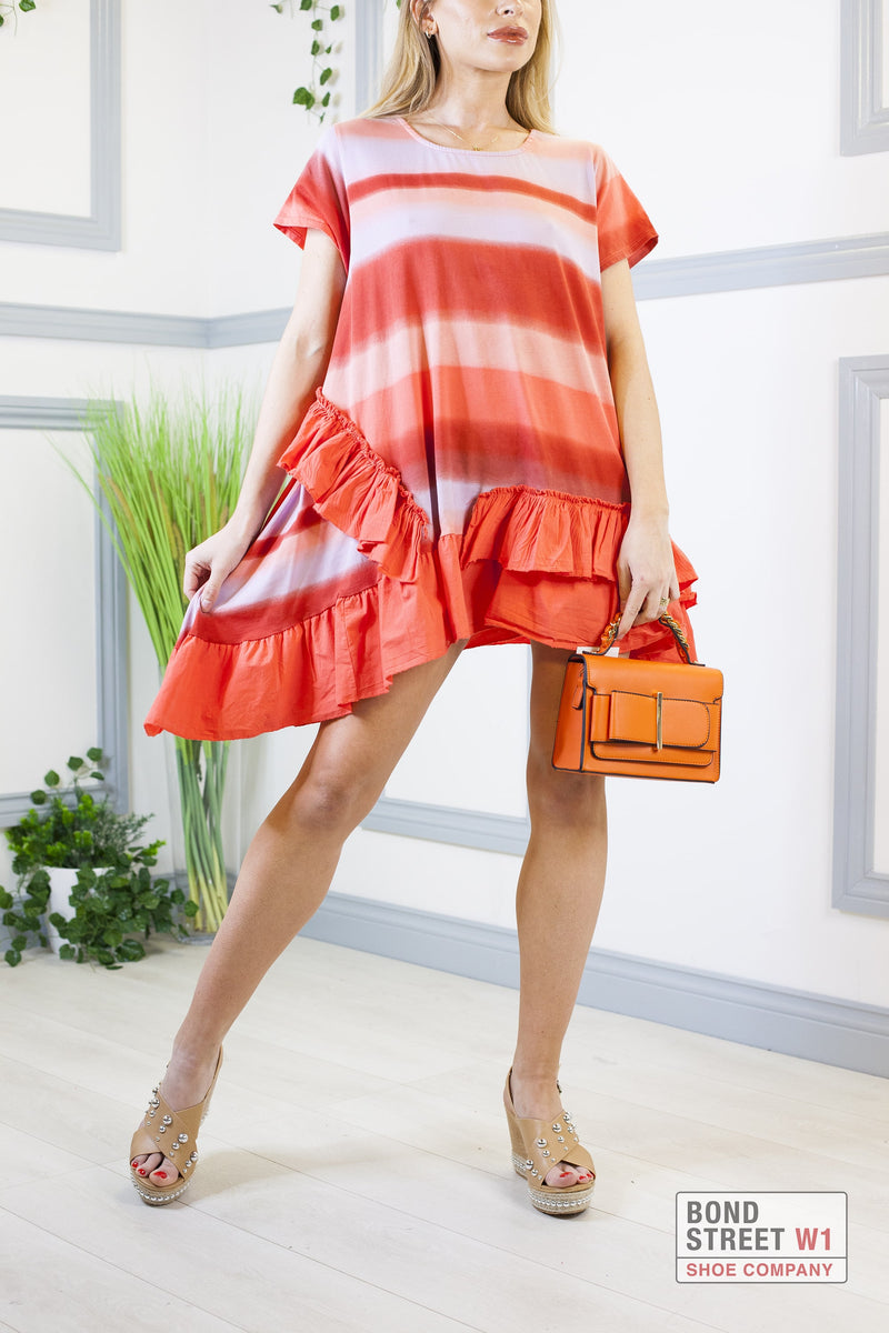 Louisa Orange Mix Tiered Frill Dress