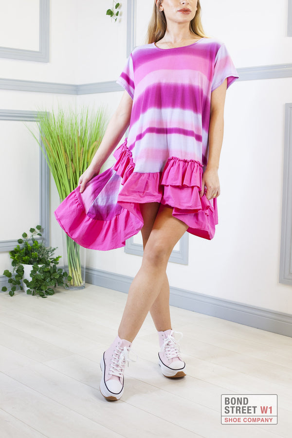 Louisa Pink Mix Tiered Frill Dress