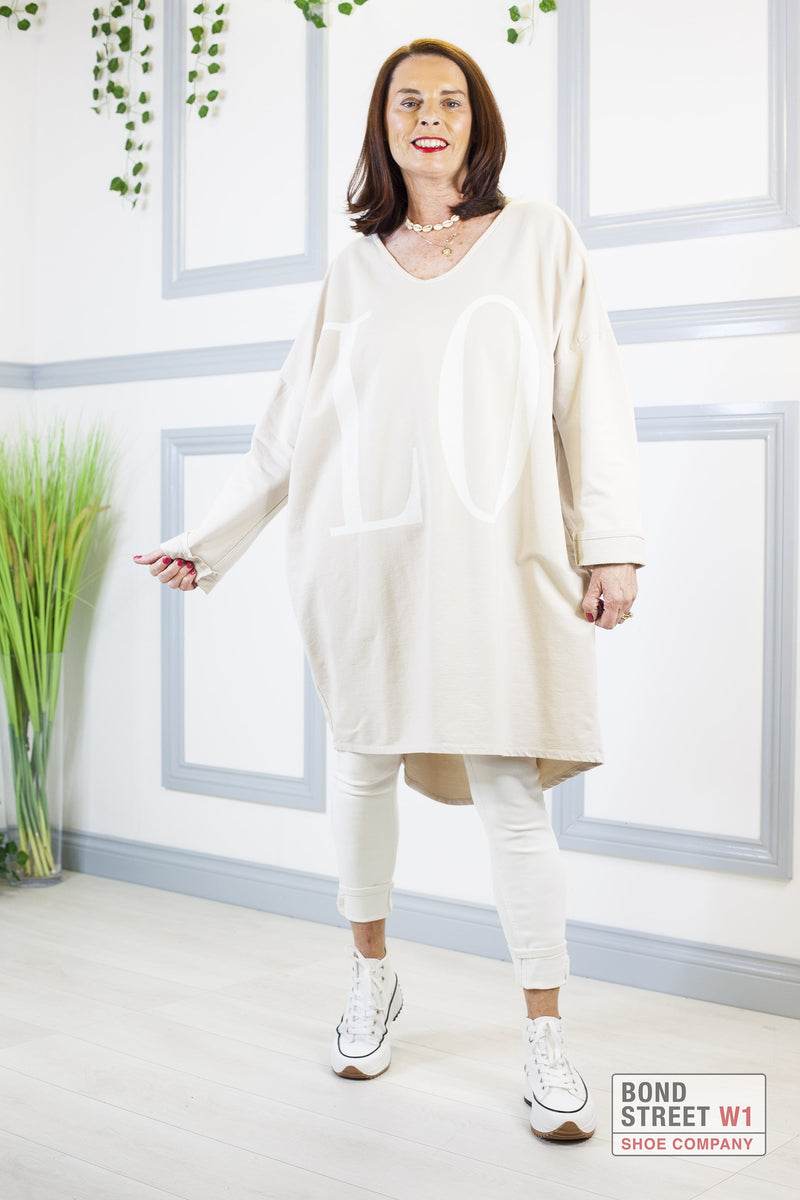 Liza Beige Love Top