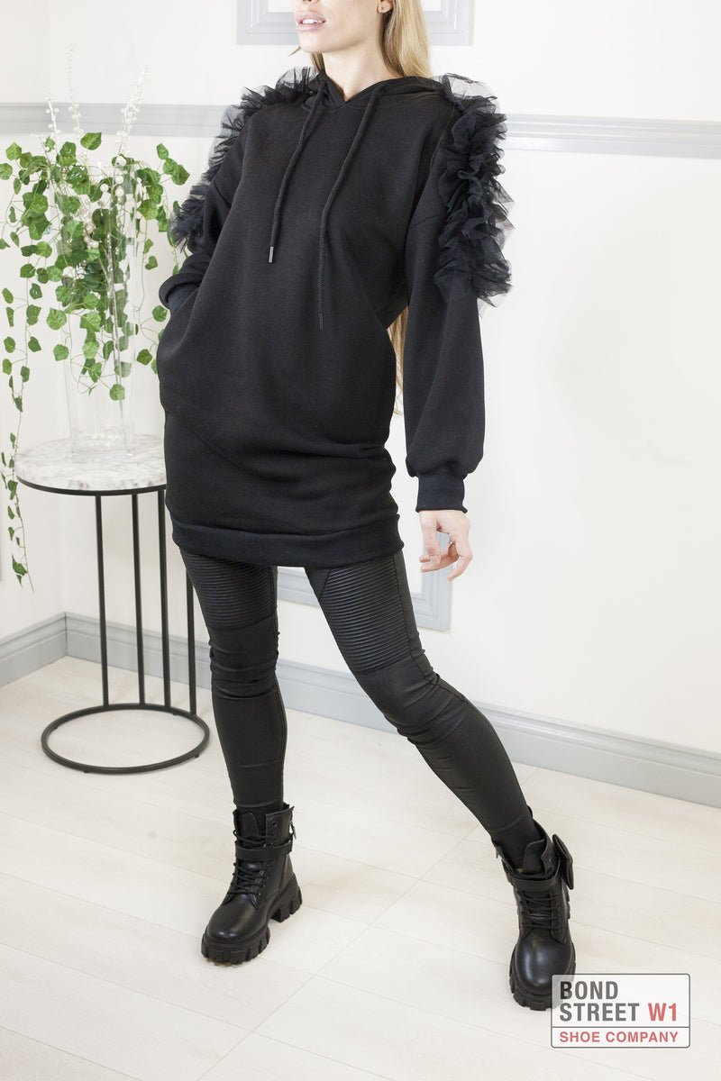 Black Frill Arm Sweatshirt