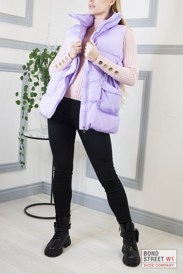 Lilac Mid Length Gilet Puffer Jacket