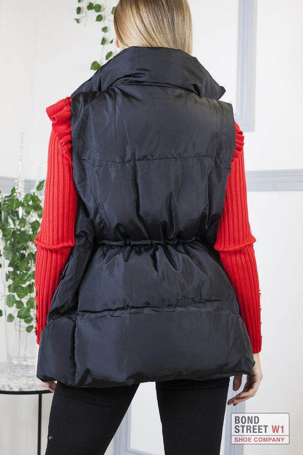 Black Mid Length Gilet Puffer Jacket