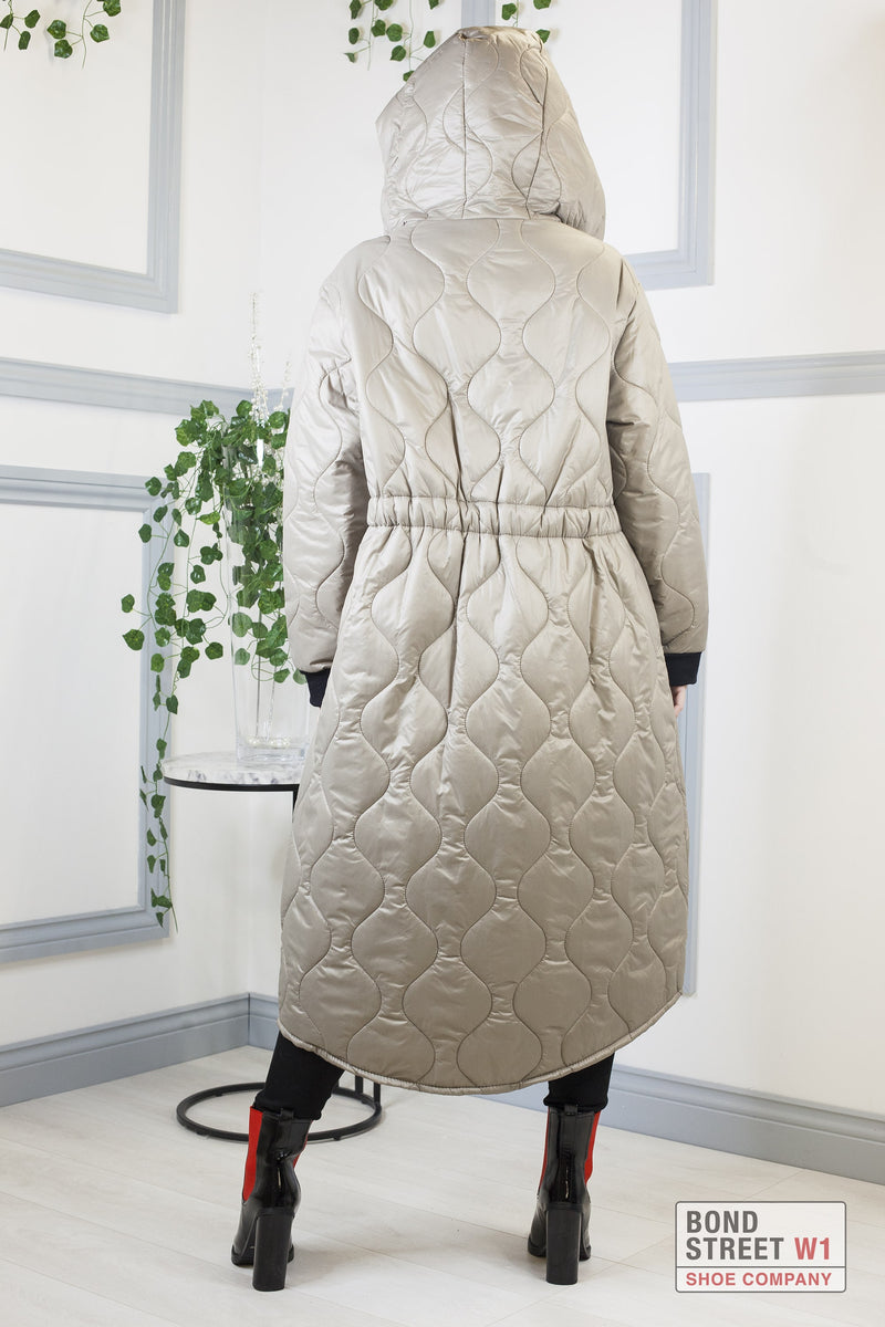 Khaki Long Puffer Jacket