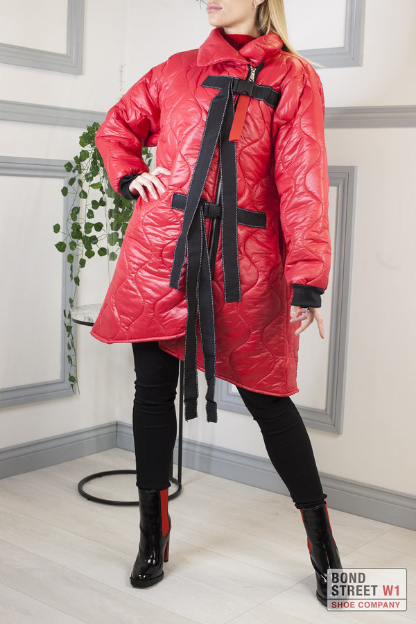 Red High Neck Full Puffa Jacket