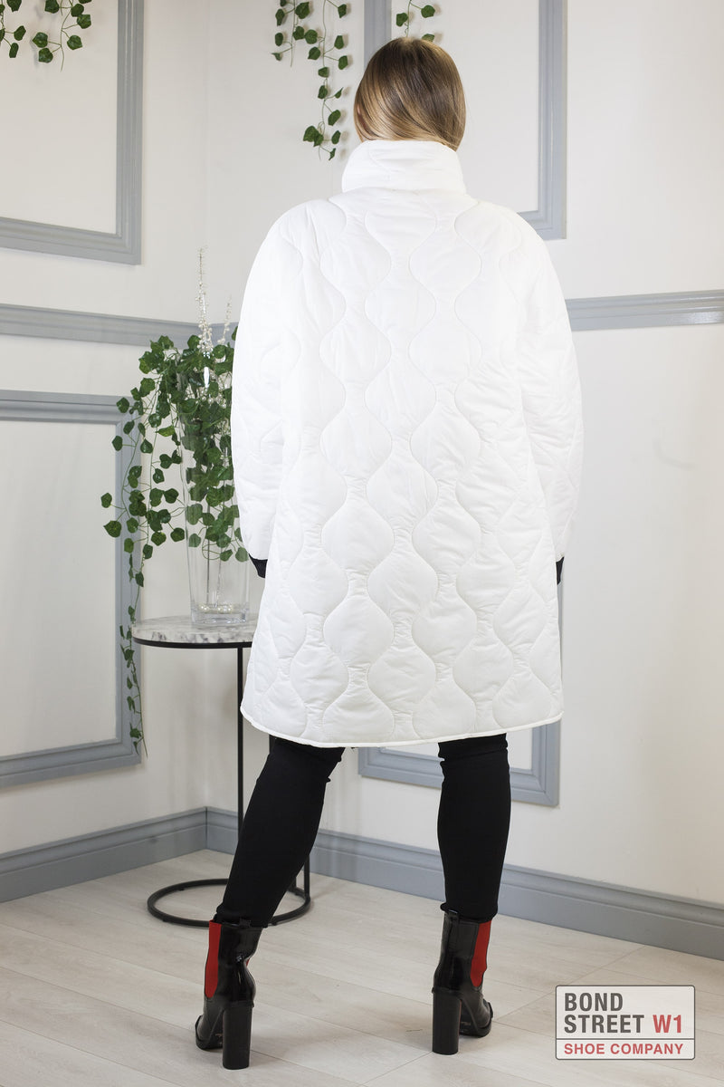 White  High Neck Full Puffa Jacket