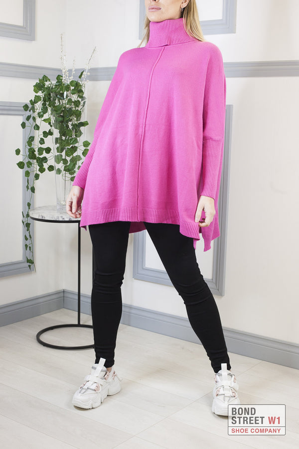 Ascot Pink Roll Neck Knit