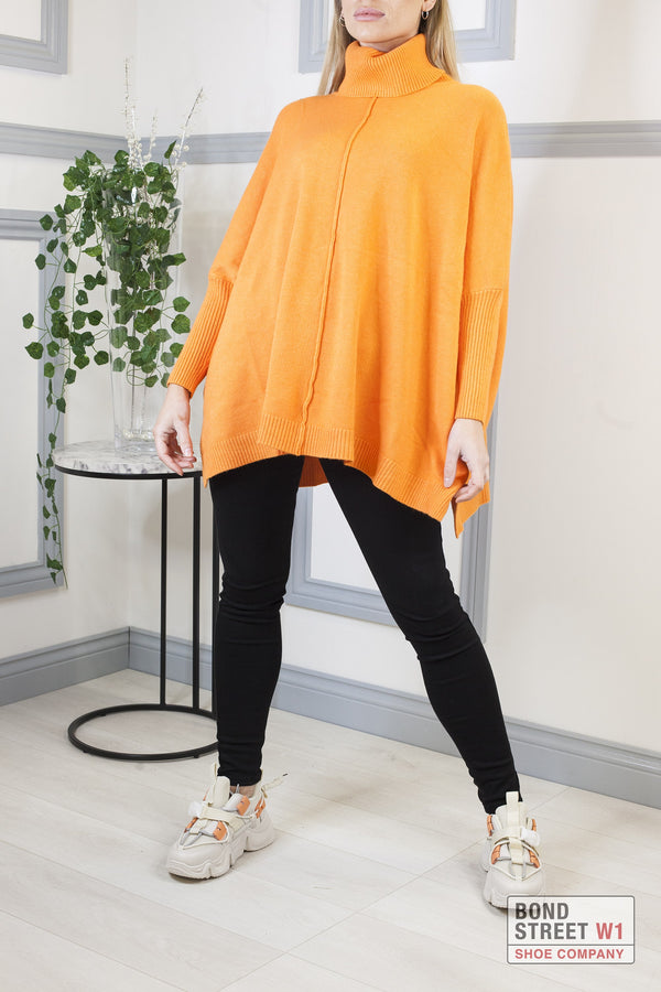 Ascot Orange Roll Neck Knit