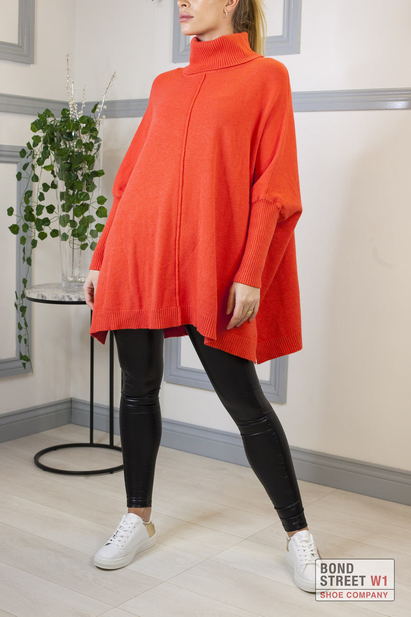 Ascot Coral Orange Roll Neck Knit