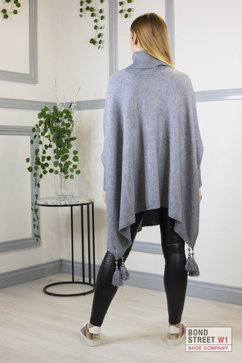 Grey Tassel Roll Neck Knit