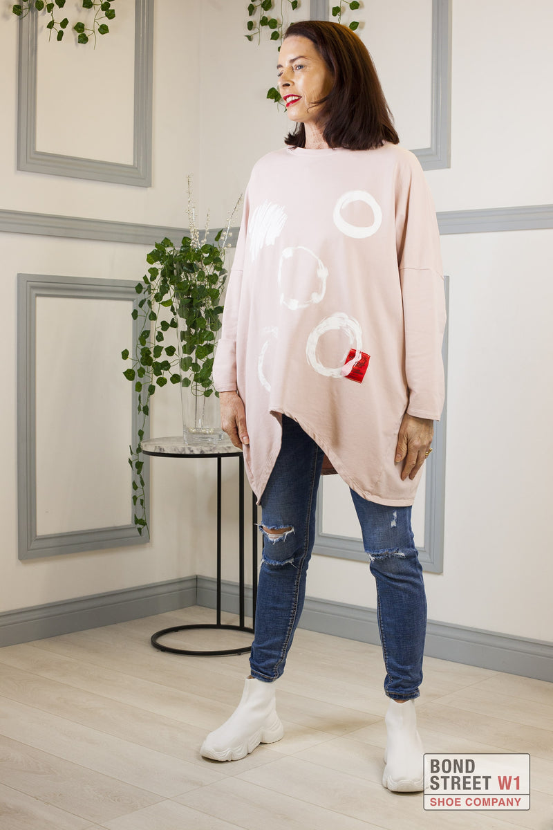 Red Label Circle Zip Sweat Top Pink