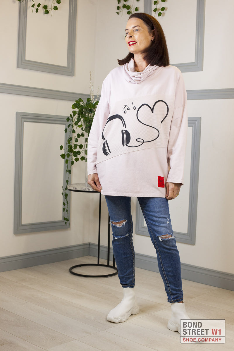 Red Label Music Sweatshirt Pink