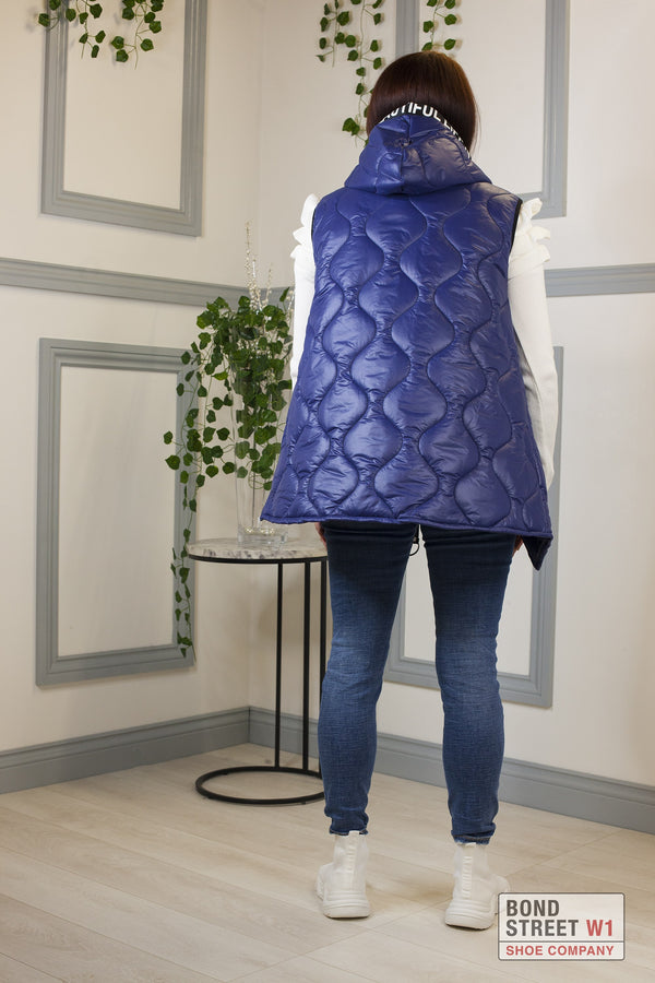 Blue Gilet Puffer Cropped