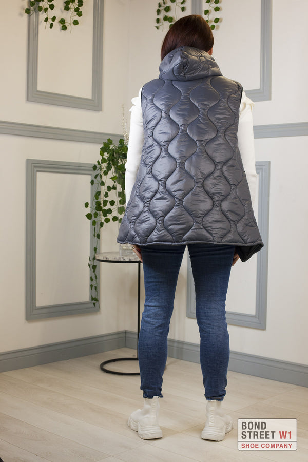 Grey Gilet Puffer Cropped