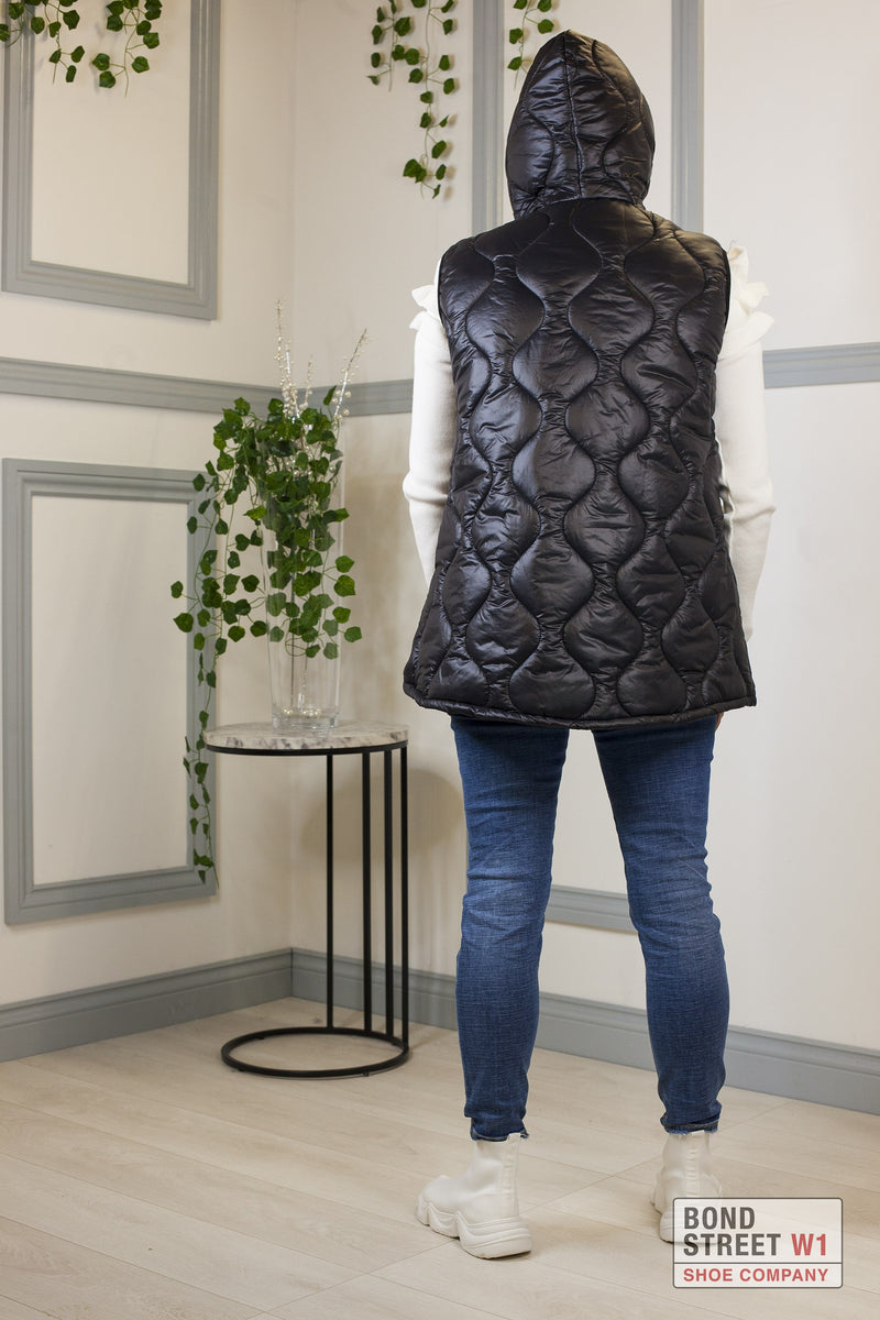 Black Gilet Puffer Cropped