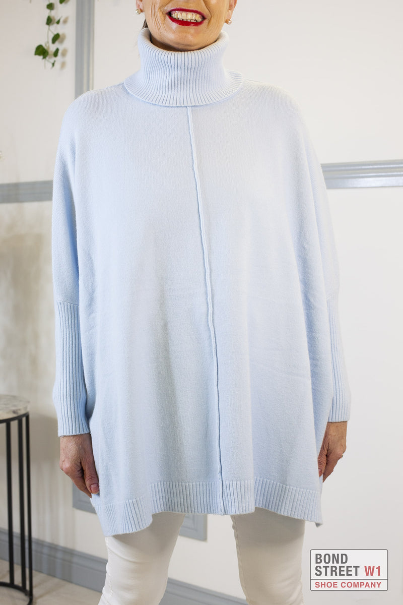 Ascot Baby Blue Roll Neck Knit