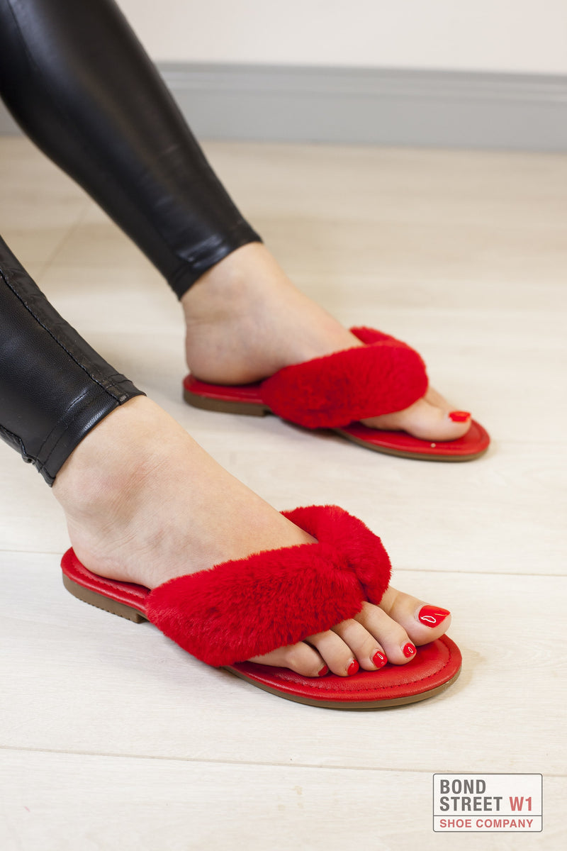 Red Faux Fur House Slipper