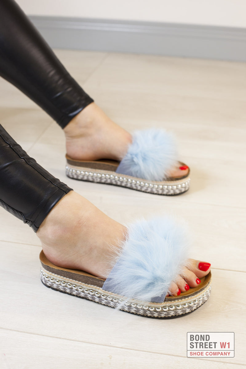 Faux Fur Flatform Blue
