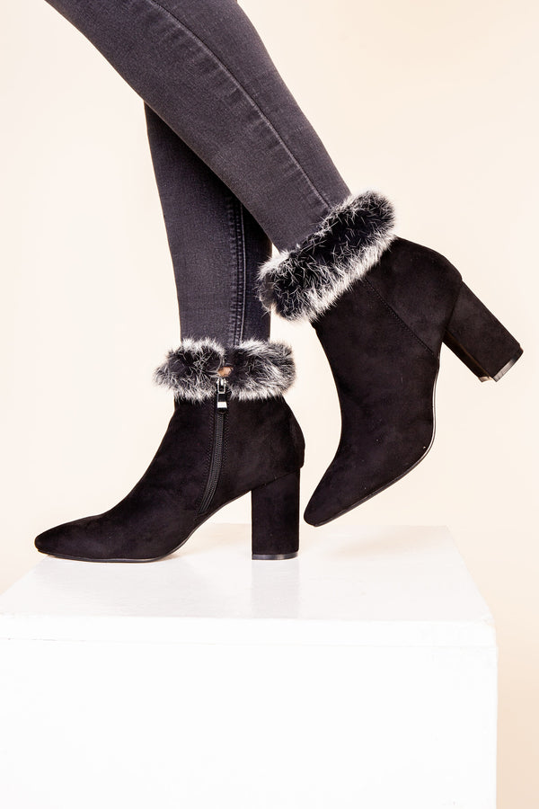 Black Fur Cuff Boot