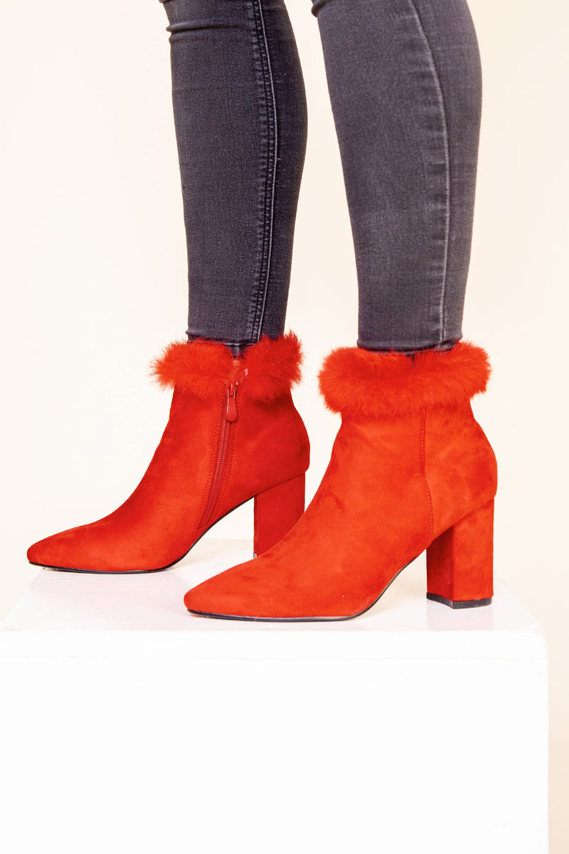 Red Fur Cuff Boot
