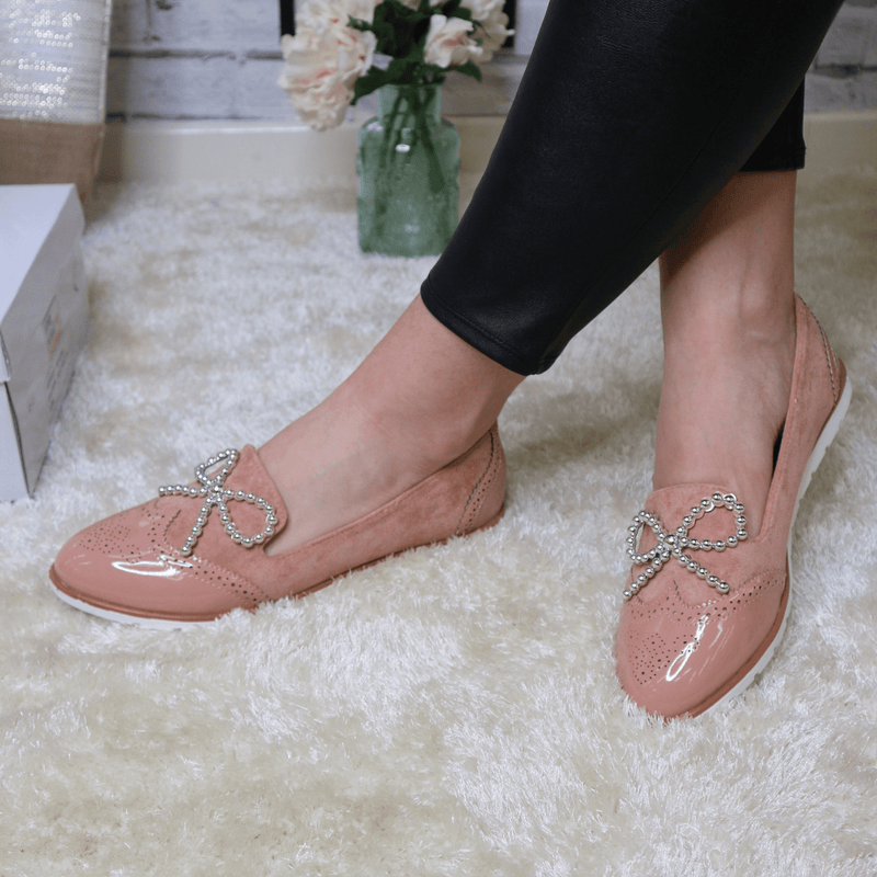 Pink beaded bow loafer