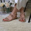 Tan cross strap wedges