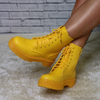 Yellow PU lace up boots