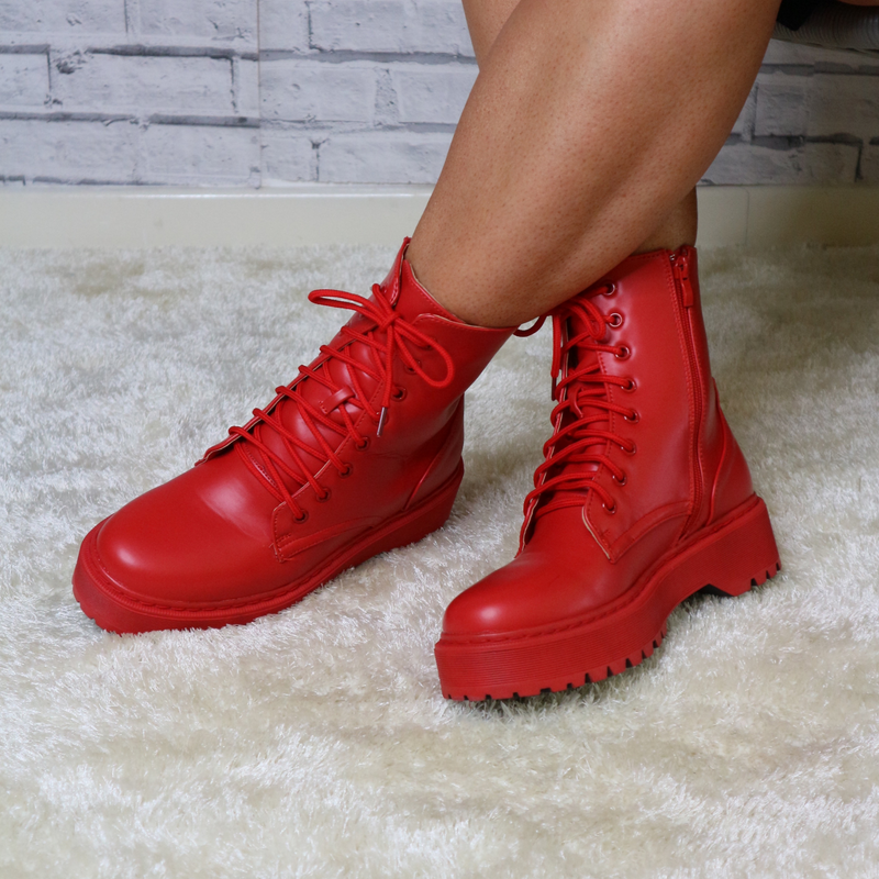 red PU lace up boots