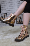 Champagne metallic ankle boot
