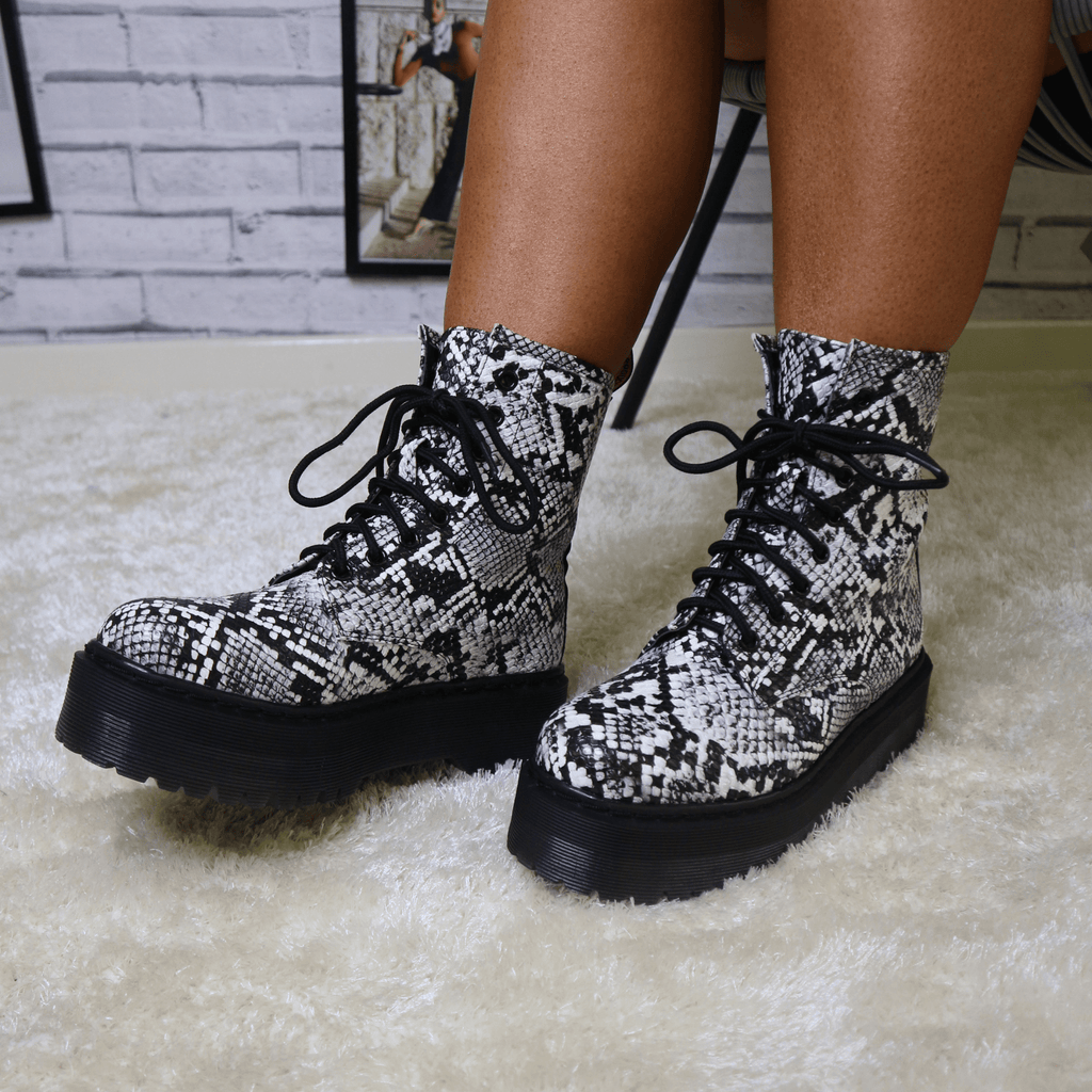 Snake print grey ankle boot