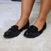 Black bow loafers