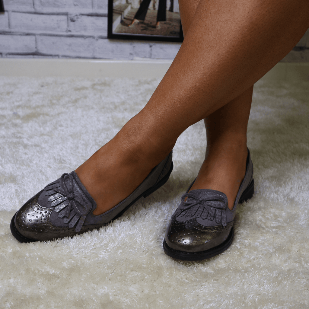 Grey bow loafers