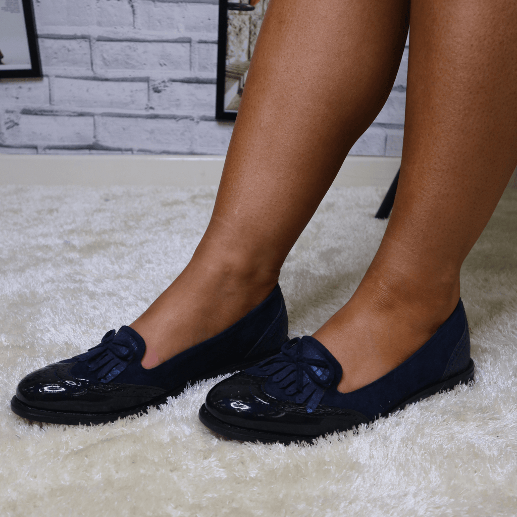 Navy blue bow loafers