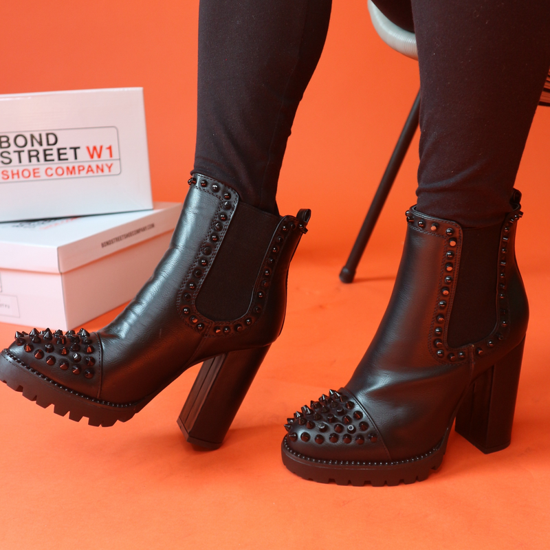 Black Studded Heeled Boots