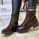 Brown Chunky Biker Boots